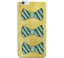 Retro green bow tie on gold iPhone Case/Skin