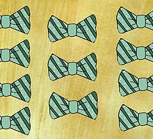 Retro green bow tie on gold by bardenne