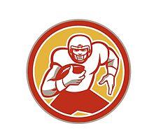 American Football Running Ball Circle Retro by patrimonio