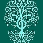 Teal Blue Musical Treble Clef Tree  by Jeff Bartels