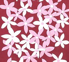 Pink and white paper flowers by paper-daisy
