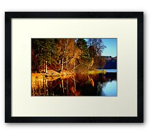 Silence in the autumn lake Framed Print