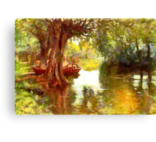 A Pleasure Boat Rests in a Shady Dell Canvas Print