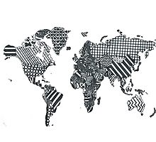 Patterned World Map Photographic Print