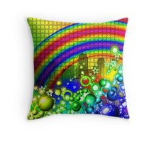 Rainbow Splash City  Throw Pillow