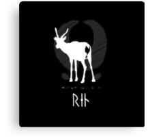 Reindeer with viking runes  (dark bg, white ink) Canvas Print