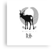 Reindeer with viking runes (white bg, black ink) Canvas Print