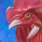Here Comes the Rooster - Digital Paint of a Red Rooster by ibadishi