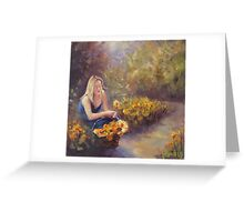 Collecting Daffodils Greeting Card