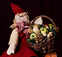Christmas Rag Doll and her Christmas basket. by brijo