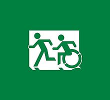 Emergency Exit Sign, with the Accessible Means of Egress Icon and Running Man, part of the Accessible Exit Sign Project by Lee Wilson