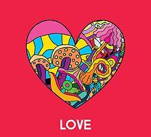 Magic mushroom pattern hippie heart  by Andrei Verner