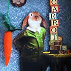 Only Carrots - Rabbit mixed media assemblage art by LindaAppleArt