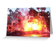 Flaming Ship - Vegas Greeting Card