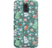 Winter birds blue pattern Samsung Galaxy Case/Skin
