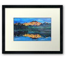 Mountain Jasper with reflection on Maligne Lake Framed Print