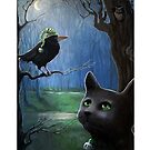 Night Rendezvous - black cat & crow fantasy by LindaAppleArt
