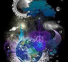 Cosmic geometric peace by VisionQuestArts