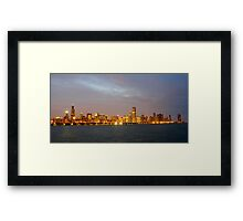 Chicago Illinois skyline in the evening Framed Print