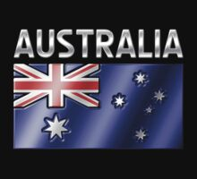 Australia - Australian Flag & Text - Metallic Kids Clothes