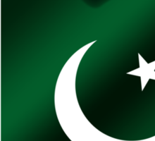 Pakistan - Pakistani Flag Heart & Text - Metallic Sticker
