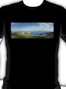 Noank, CT Seashore & Docks Panorama T-Shirt