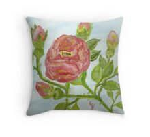 "a wild red rose ""girls rooms""  Throw Pillow"