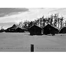 Little Shacks In The Winter - Digital Oil Photographic Print