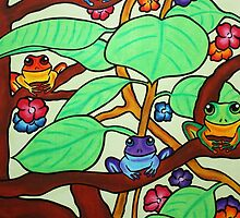 Frittering Frogs - Oil Pastels on Watercolor Paper  by morningcoffee