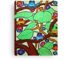 Frittering Frogs - Oil Pastels on Watercolor Paper  Canvas Print