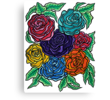 A Rose by Any Other Name - Oil Pastels on Watercolor Paper Canvas Print