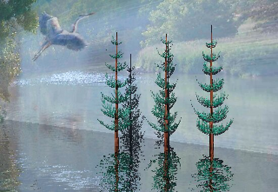 Heron in flight by toots