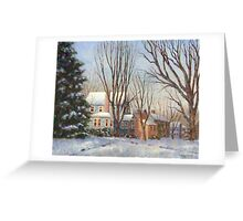 Blue House in Winter Greeting Card