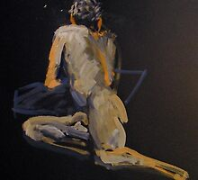 2007 Gouache Life Drawing Nude Male Study by Simon Collins