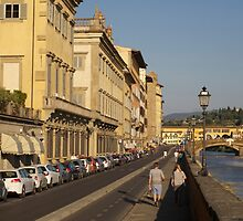 Walking Along Arno River - Florence, Italy by Ann Marie Donahue
