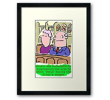 Cartoon - Man in congregation at church suppresses urge to shout rude words. Framed Print