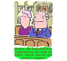 Cartoon - Man in congregation at church suppresses urge to shout rude words. Photographic Print