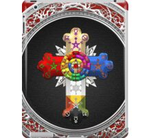 Rosy Cross - Rose Croix in Silver on Black iPad Case/Skin