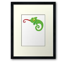 Green cute CHAMELEON with tongue licking Framed Print