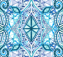 Blue and Teal Diamond Doodle Pattern Sticker