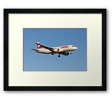 Swiss Airbus A320(SL) Landing In Sunset Framed Print