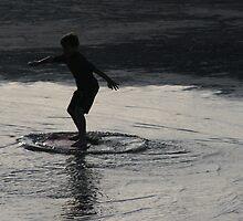 Skimboarding at Sunset by Lisa Miller-Gage