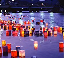 Floating Lanterns -  Hiroshima, August 6 2003 by Jaxybelle