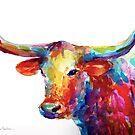 Colorful Texas Longhorn watercolor painting Svetlana Novikova by Svetlana  Novikova