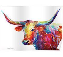 Colorful Texas Longhorn watercolor painting Svetlana Novikova Poster