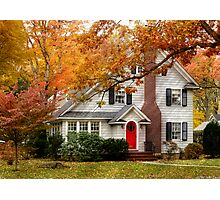Autumn with a red door Photographic Print