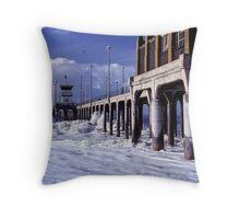 Huntington Beach Pier, Long Ago Throw Pillow