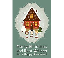 Little Carolers Christmas Card - Holiday Saying Photographic Print