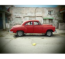 Red Car in Cojimar Photographic Print