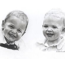Siblings - graphite by Marlene Piccolin